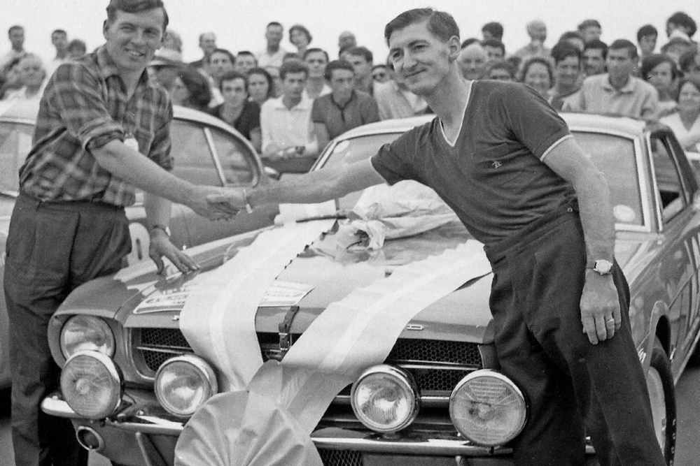 In the Tour de France Automobile, Alan Mann RACING prepared six Ford Mustangs to rally specification and won the event with Peter Procter (Above Right) at the wheel, marking the first competitive success of the brand new Mustang.