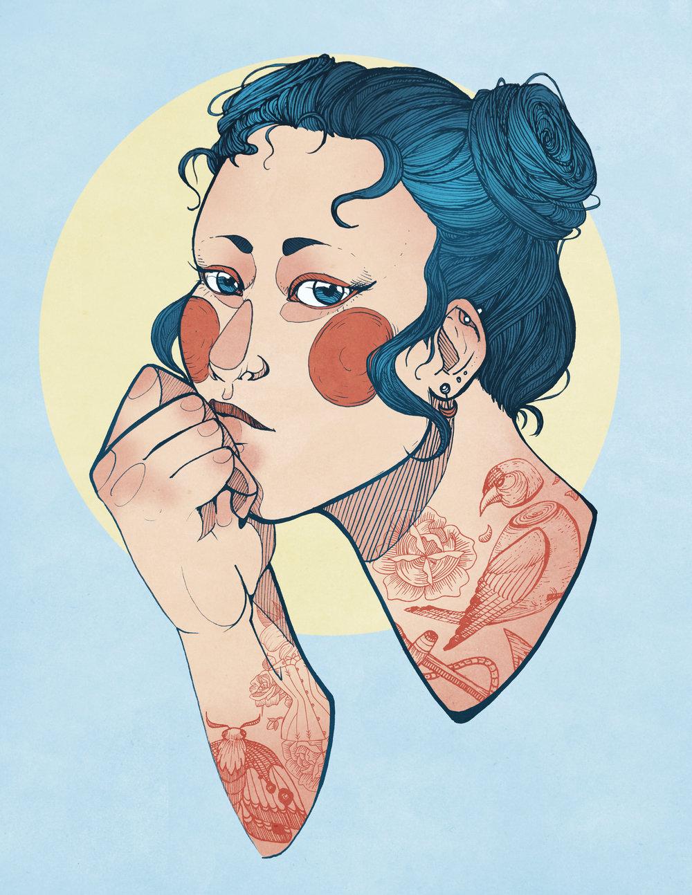 "Ketzia, Digital Illustration. 8""x10"". 2016."