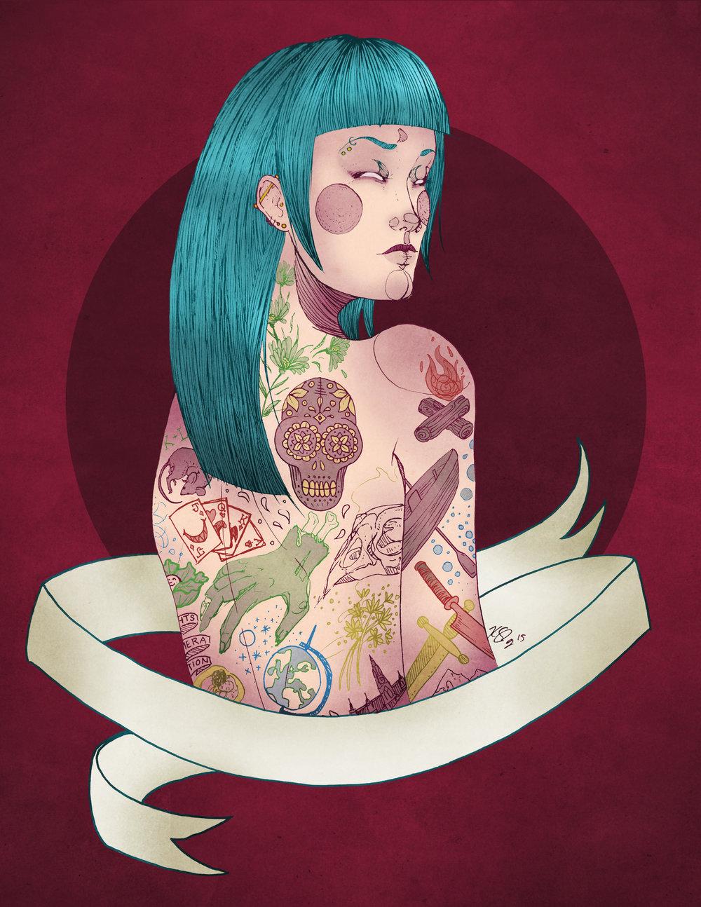 "Sheena, Digital Illustration. 8""x10"". 2015."