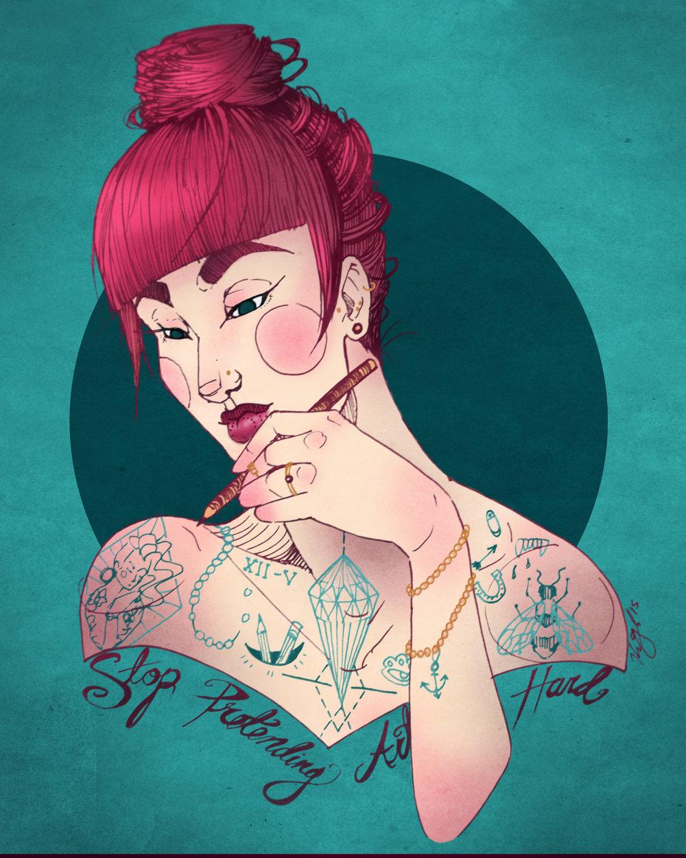 """Amanda, Digital Illustration. 8""""x10"""". 2015."""
