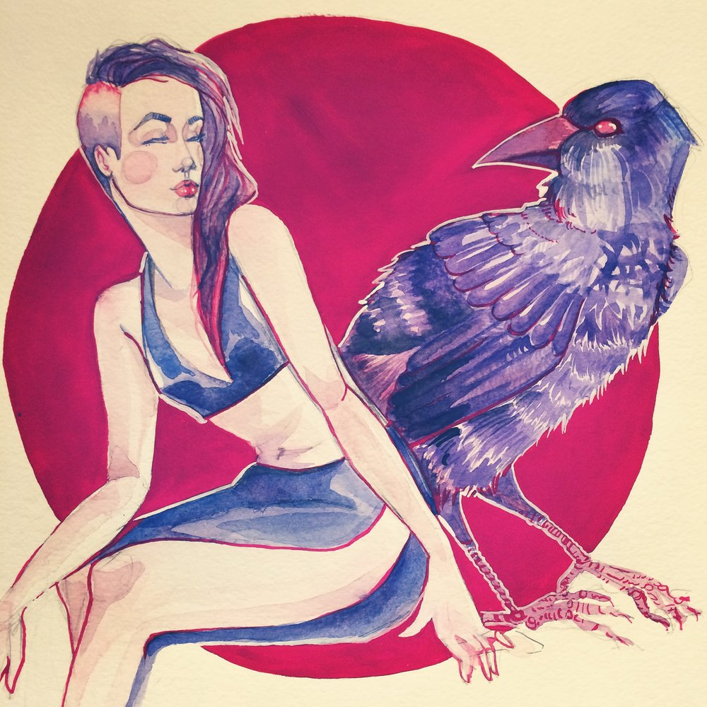 "Raven,   Guache and Watercolour. 14""x20""  . 2015."