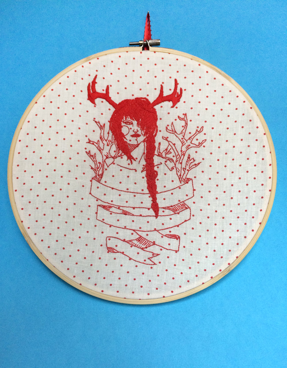 "Horned Lady 1  , Embroidered Illustration. 10.75""x10.75""  . 2014."