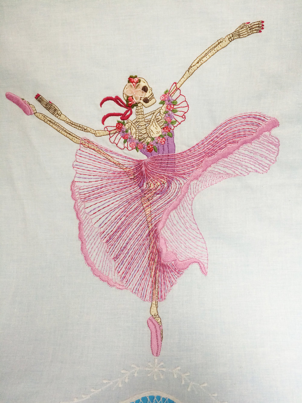 "Skeleton Ballerina,   Embroidered Illustration on Vintage Lace. 20""x15""  . 2015."