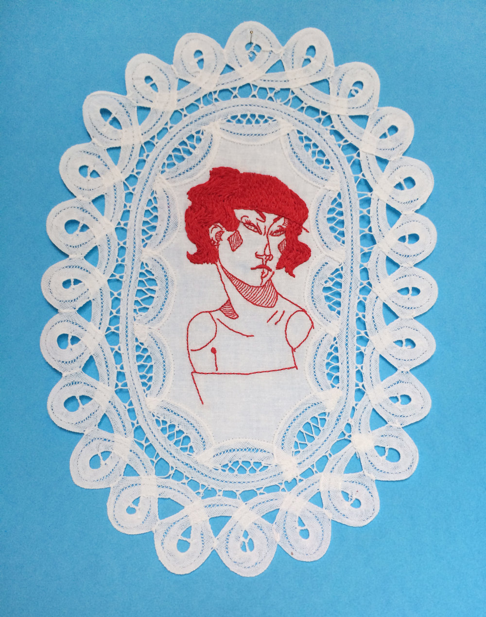 "Queen of Diamonds,   Embroidered Illustration on Vintage Lace. 9""x12""  . 2016."