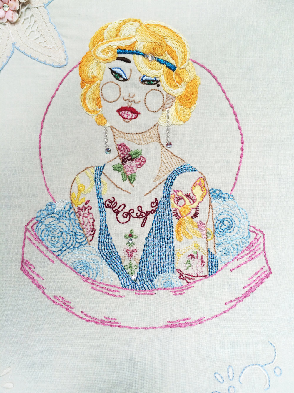 "Flapper, Close Up  ,   Embroidered Illustration on Vintage Lace. 21""x15""  . 2016."