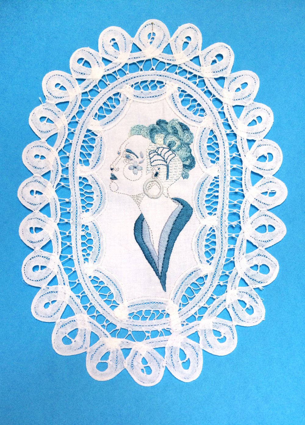 "Fleur.   Embroidered Illustration on Vintage Lace. 9""x12""  . 2016."