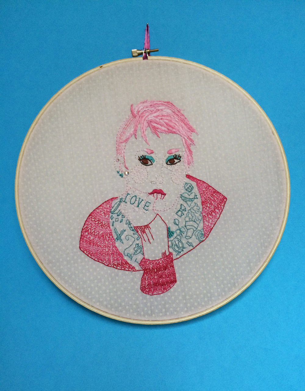 "Self Portrait  , Embroidered Illustration. 10.75""x10.75""  . 2015."