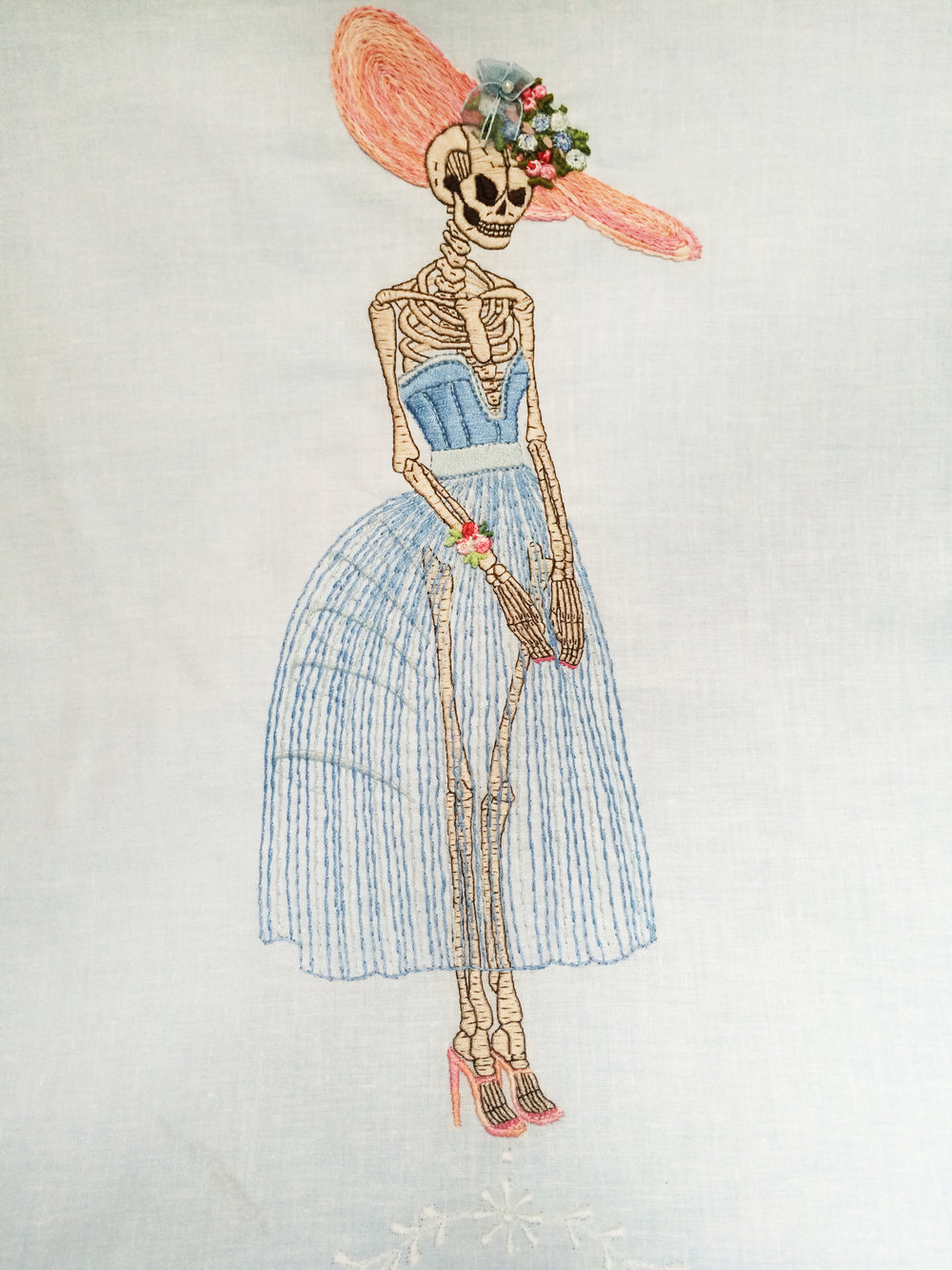 "Skeleton,   Embroidered Illustration on Vintage Lace. 20""x15""  . 2015."