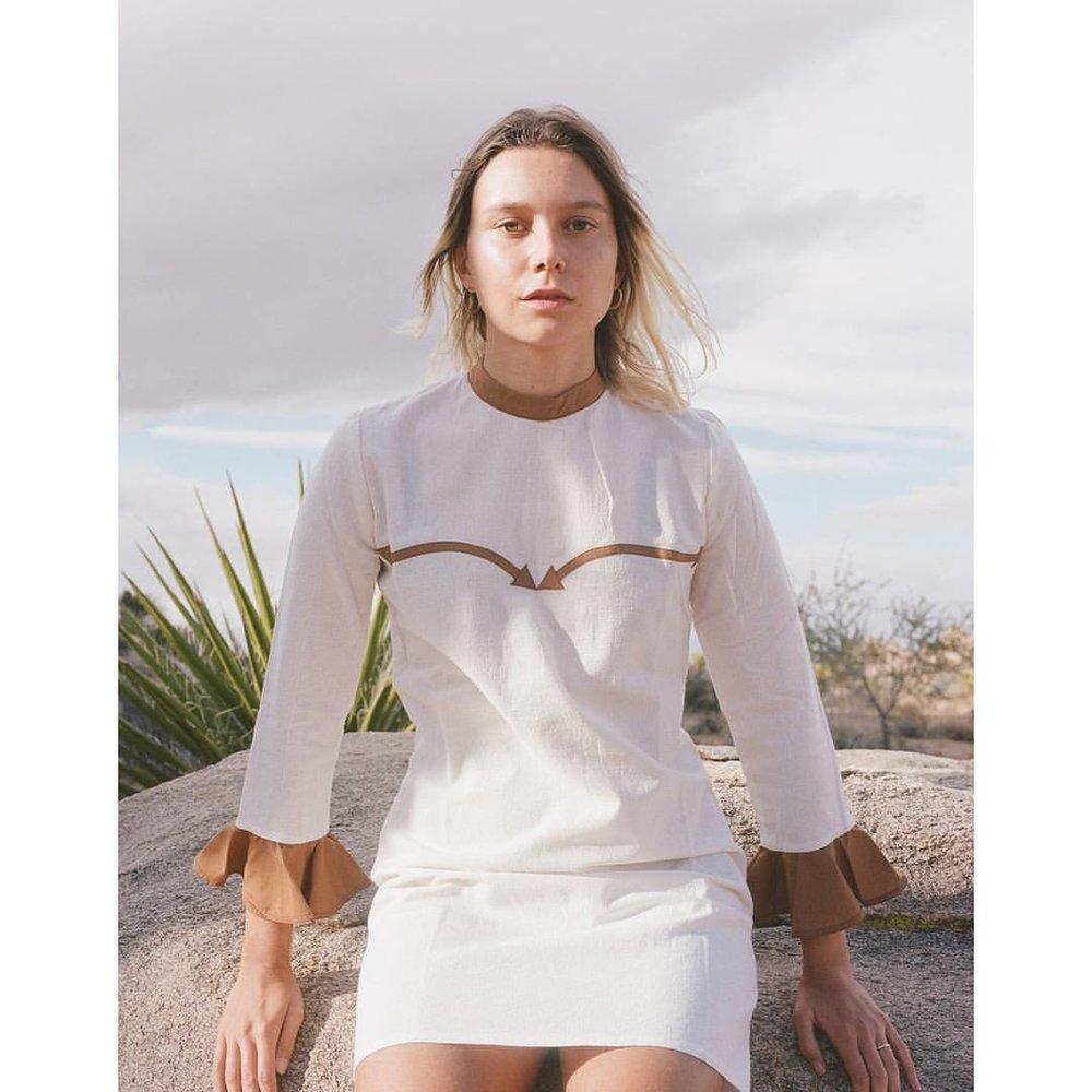 "@louisenouvellon wearing our ""Canyon River"" dress 📸@shevakafai    #desertsunbrand (at Joshua Tree, California)    www.desertsunbrand.com"