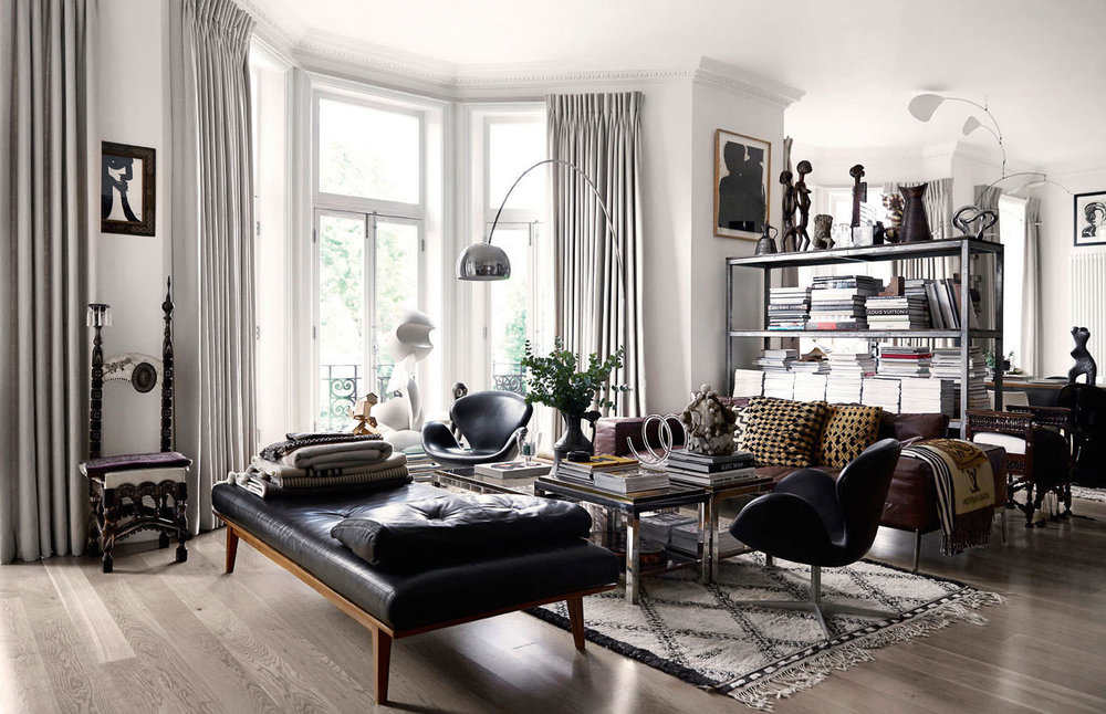 The living room of Malene Birger's London flat via  Lonny