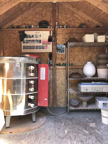 The studio kiln in its own shed