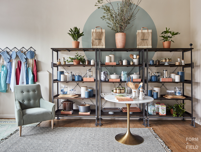 AFTER: Beautifully styled shelving and tabletops to show-off the wares