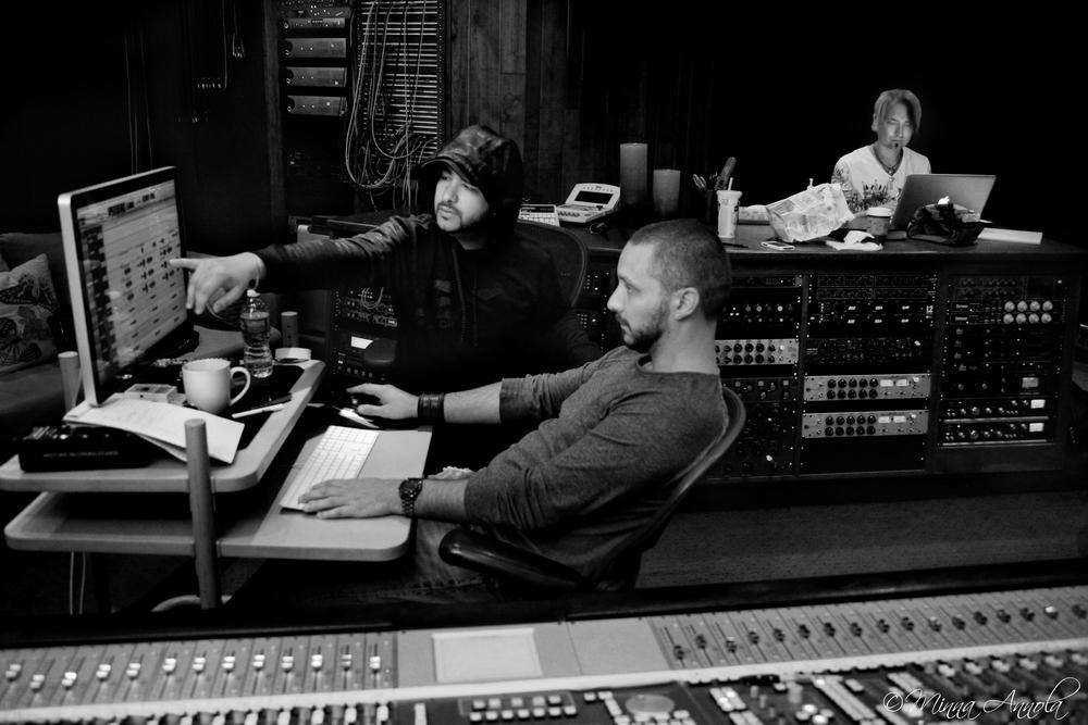 Music Producer Efrem Macheras, Grammy Nominated Engineer  Doug Fenske  and Musician Jani Hölli. Studio 6, Westlake Recording Studios, West Hollywood.