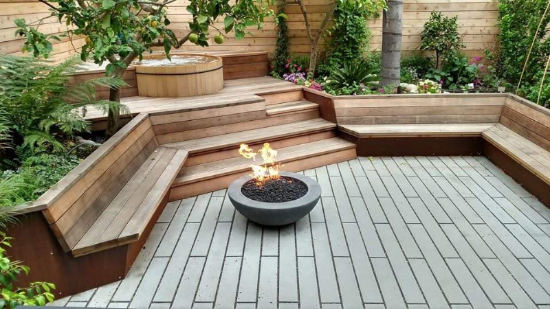Artisans Landscape Outdoor Fire Pit and Hot Tub