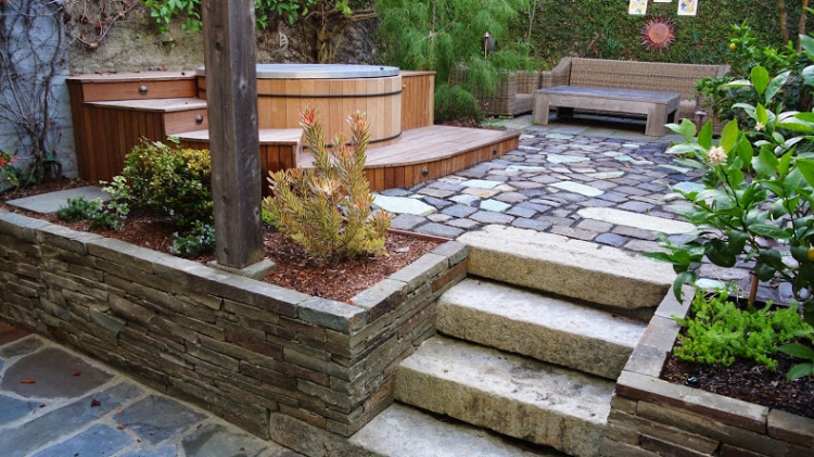 Artisans Landscape Hot Tub and Stone Patio
