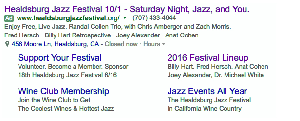 "The ""keyword"" that triggered this search ad was ""California Jazz Festival;"" the ad uses extensions to provide even more info in Google's new Extended Ad format and, as a result, rank higher and appear more prominently on Google Search pages."