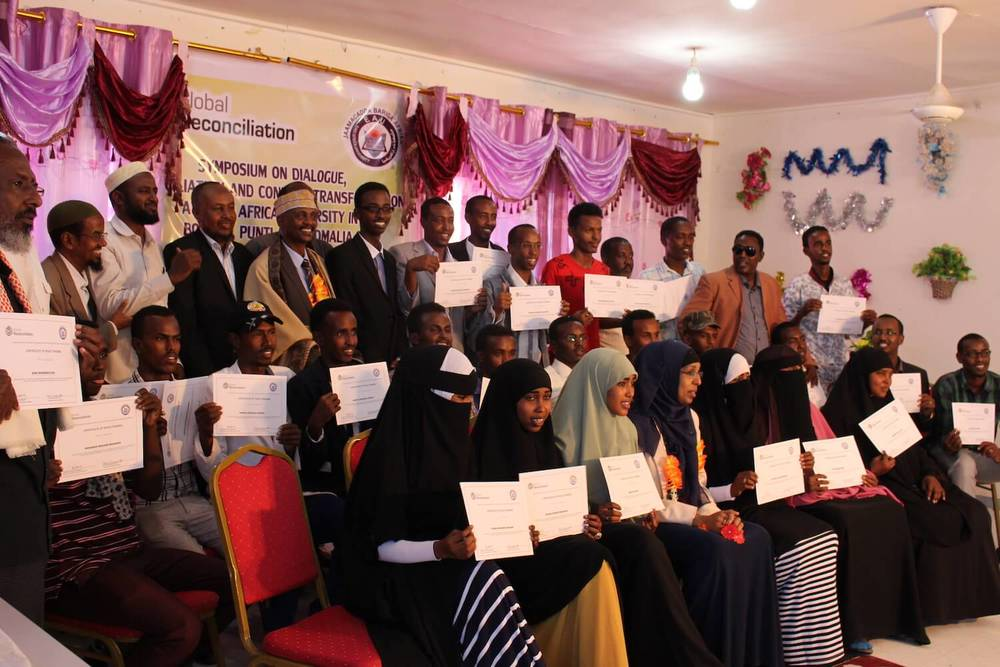 Symposium on Dialogue, Reconciliation and Conflict Transformation graduation ceremony at East Africa University, Somalia, Thursday, 4 February 2016.