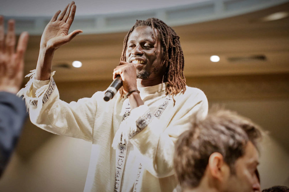 Emmanuel Jal received the Desmond Tutu Reconciliation Fellowship award at Melbourne Town Hall,24 August 2017.