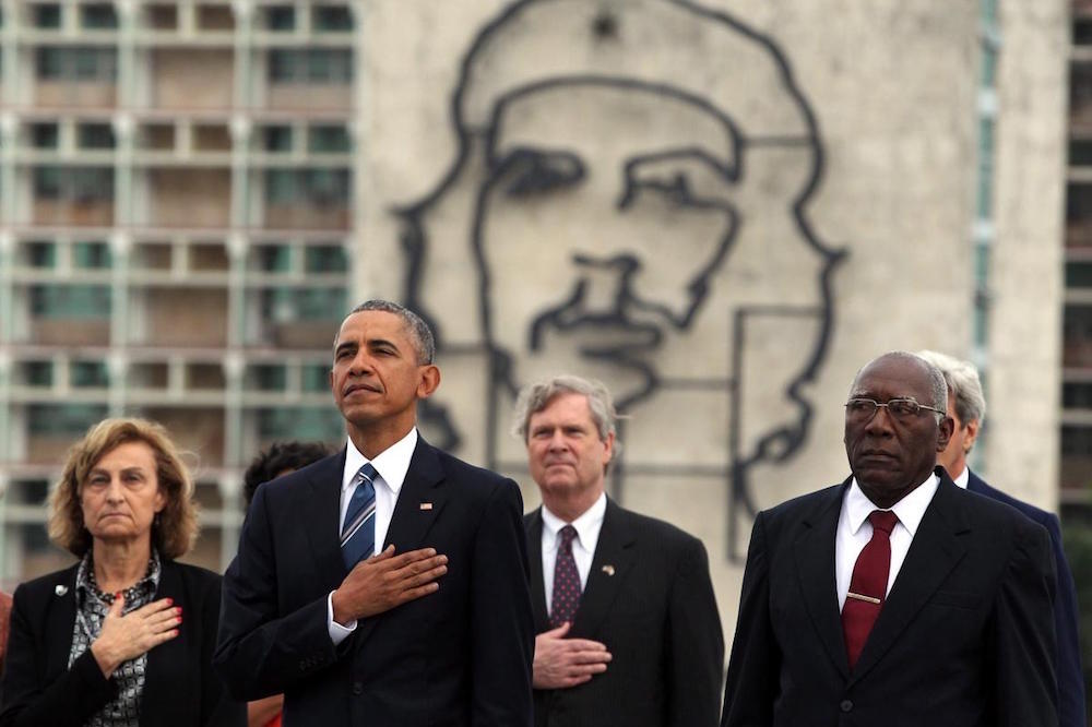 US President Barack Obama stands in front of Che Guevara monument during a ceremony at Jose Marti Monument in Havana, Cuba, 21 March 2016. Photo: AlterNet