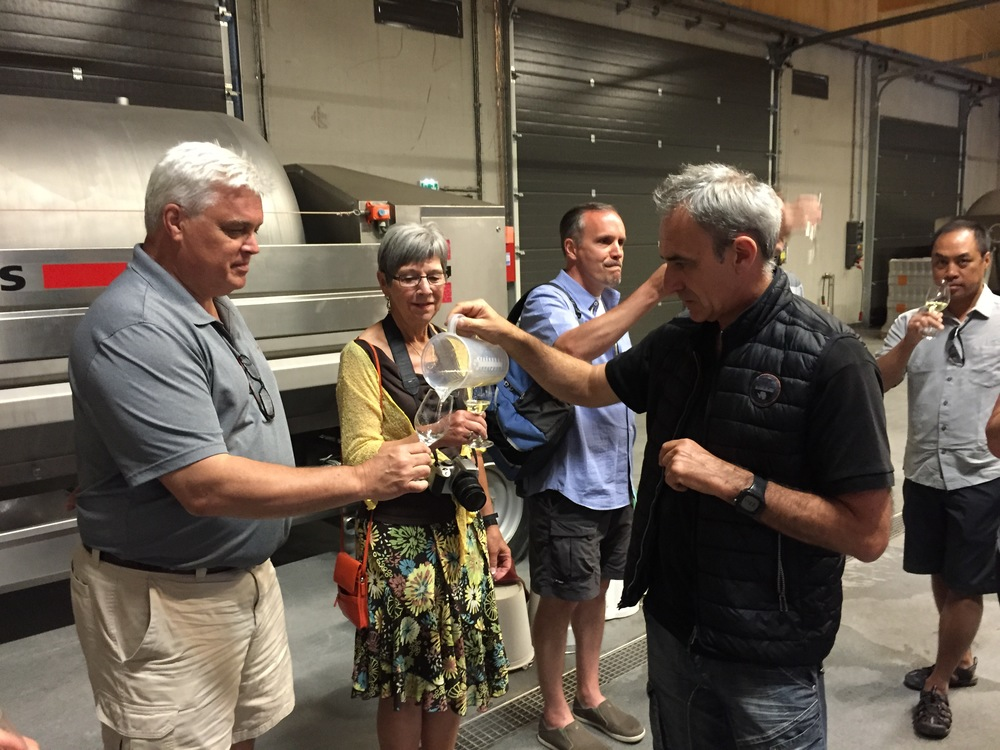 Tasting in the cellar with Christophe Thibert...