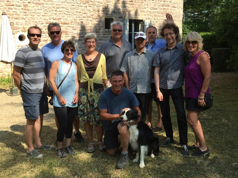 """The group in the garden with Fabio (and his pup """"Ever"""") at Chateau des Rontets..."""