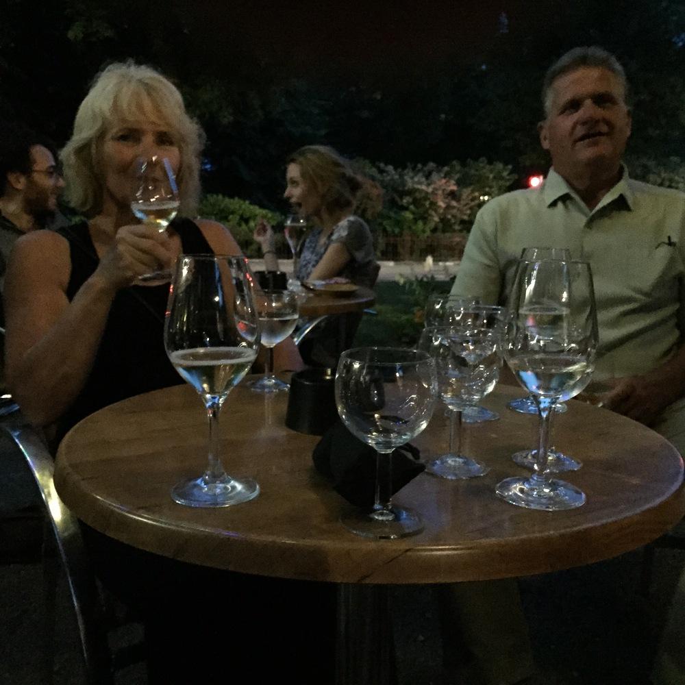 Laura and Vic enjoying bubbles at Bar du Square