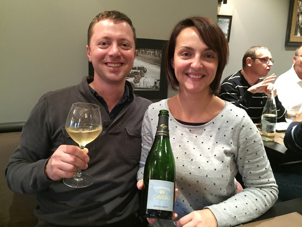 Sophie and her fiancé Cédric Moussé, with our Caveau Extra-Brut!