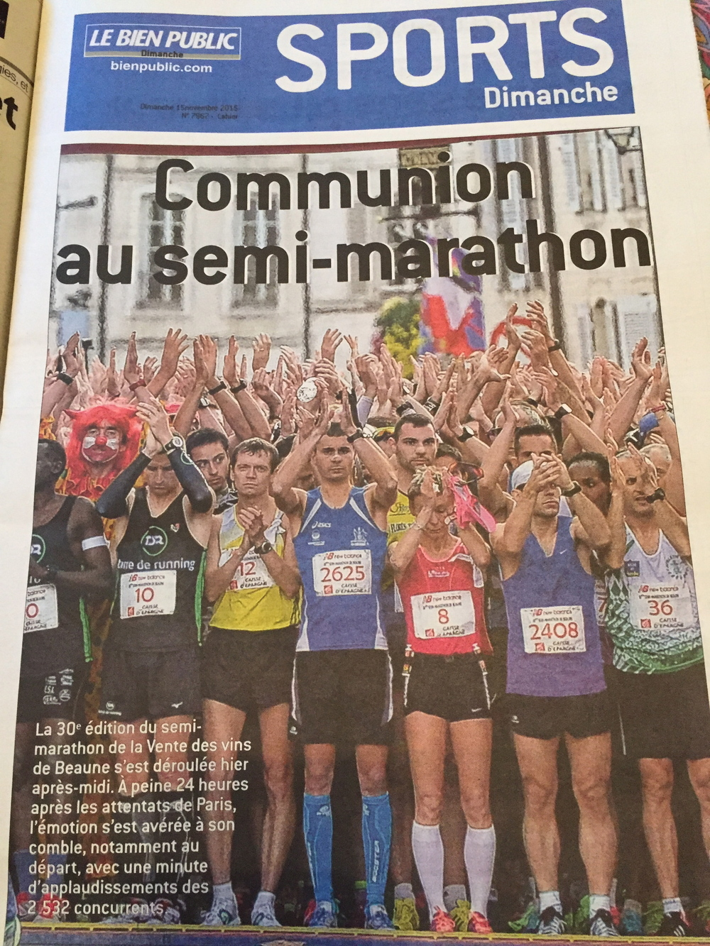 The start of the Beaune half-marathon. That's me in the 373rd row...