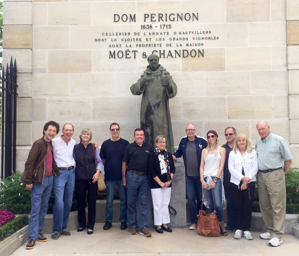 Your intrepid importer with this week's Champagne tour group and a  dead monk...