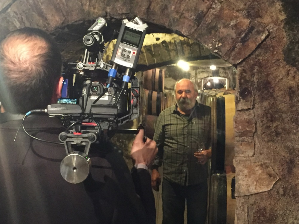 Filming  Thierry Violot-Guillemard  in his cellar below Pommard