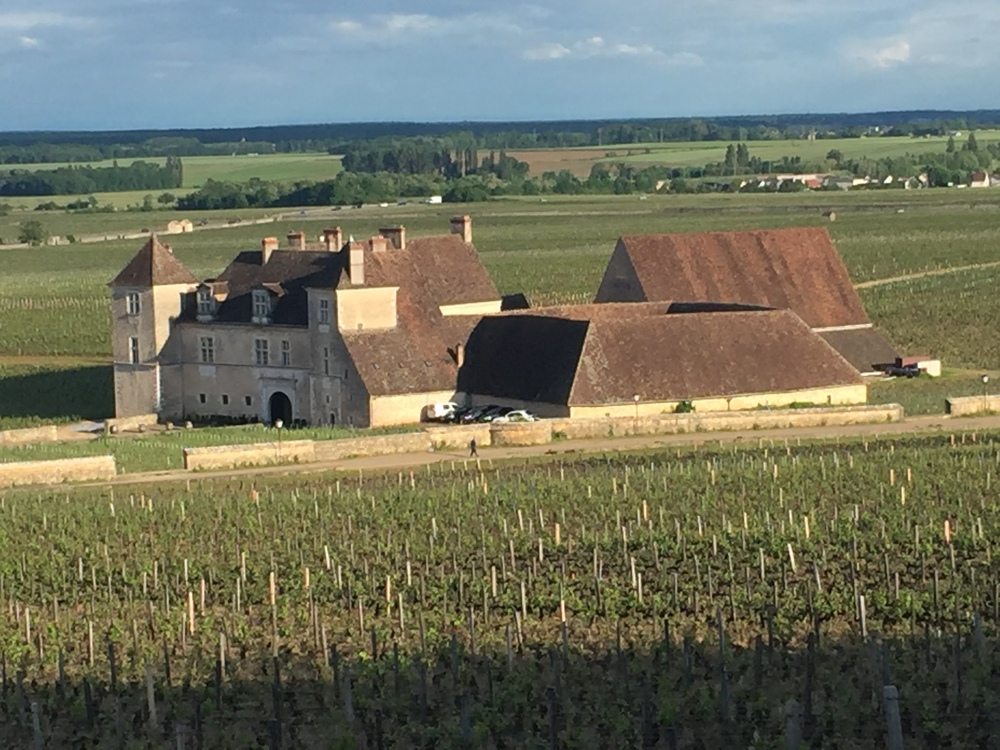 Late-afternoon sun shining a spotlight on the  Chateau de Vougeot