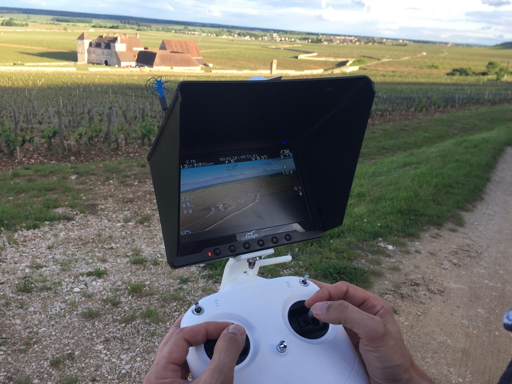 Piloting the drone over  Clos Vougeot