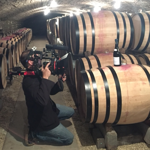 David filming a barrel and a bottle of  Richebourg  at A-F Gros