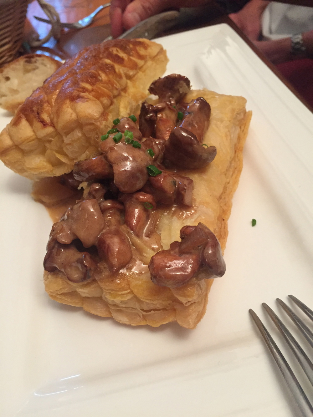 Girolles on puff pastry...