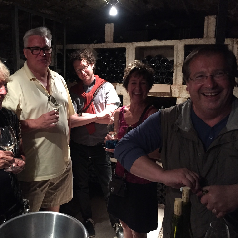 In the cellar with  Patrick Essa at Buisson-Charles  in Meursault