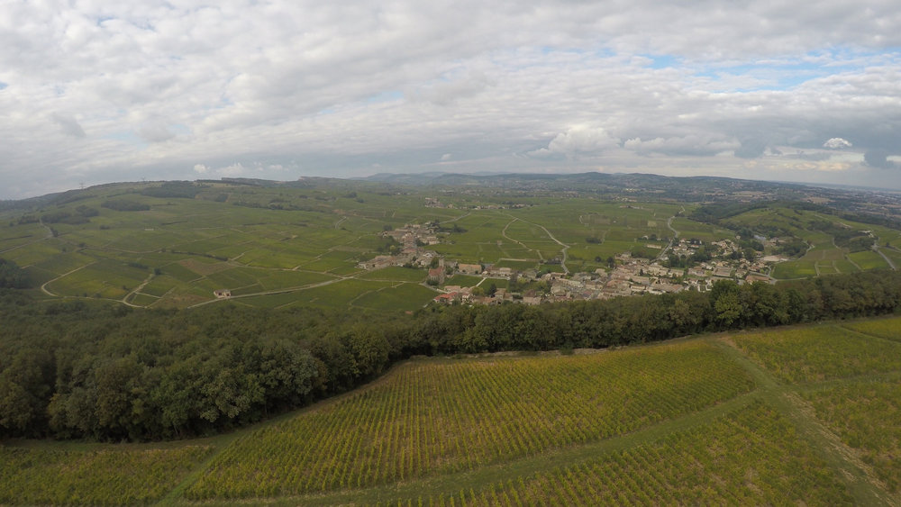 Still photo from aerial footage over the village of Fuissé in the Mâconnais