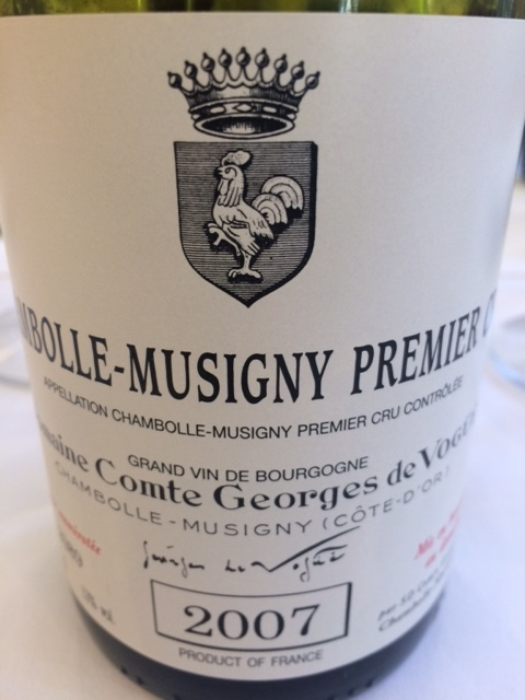 A treat from the de Vogüé cellars, enjoyed with lunch at Le Millésime in Chambolle