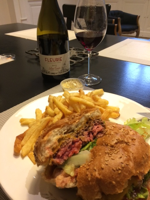 "You can take the food trucks out of Portland, but you can't take Portland out of the food trucks. A killer burger from the ""B Comme Burgui"" truck, which hits Beaune every Friday night. And some killer Fleurie from Julien Sunier, of course!"