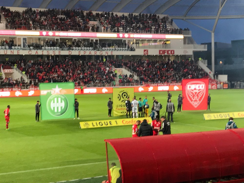 At the stadium in Dijon. Fun match, dull crowd...