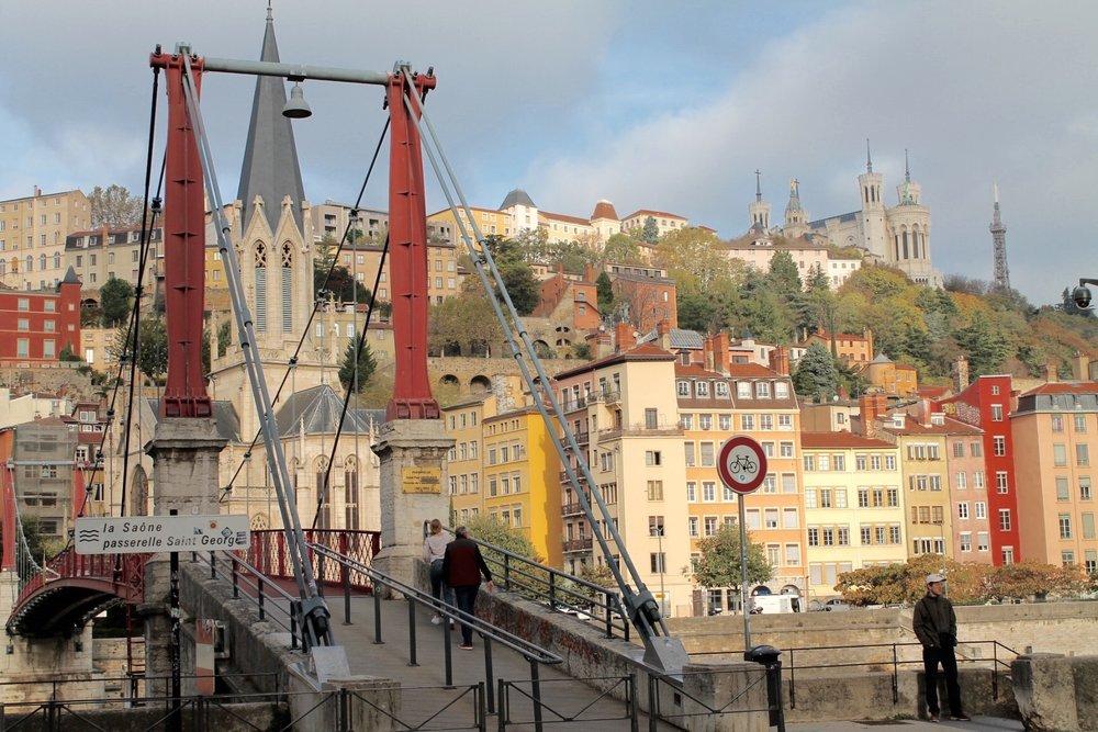 One of the pedestrian bridges into old-town Lyon