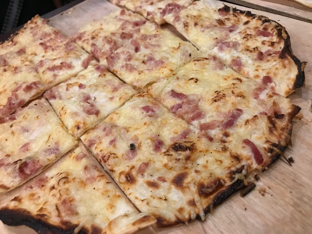 The classic Alsatian Tarte Flambée - yes, please!