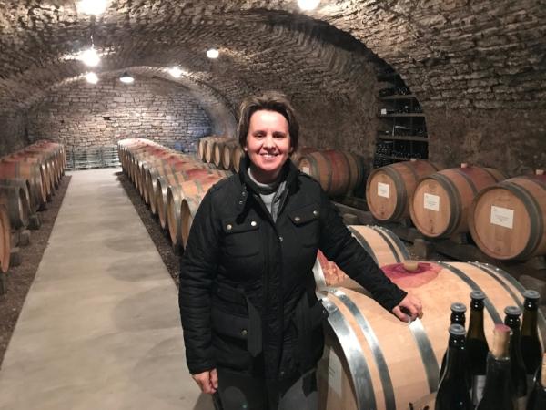 Winemaker Florence Heresztyn-Mazzini in her cellar in Gevrey-Chambertin