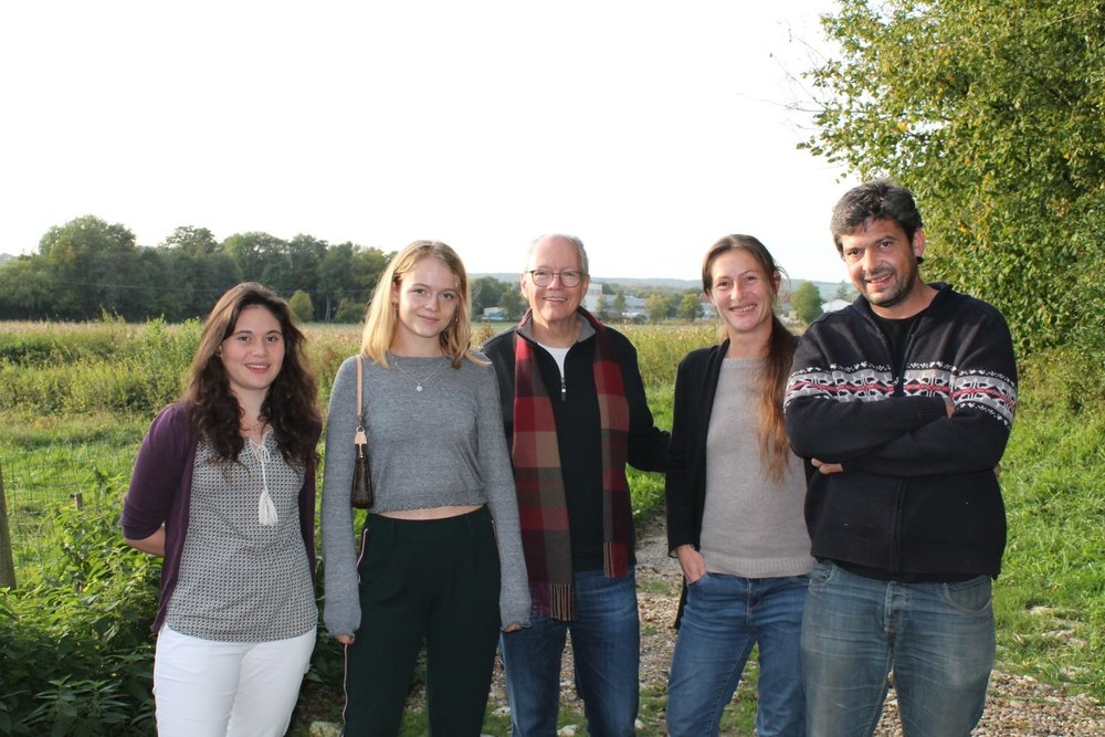 Scott and daughter Pirrie with the La Parcelle family in Champagne (Photo - Martha Wright)