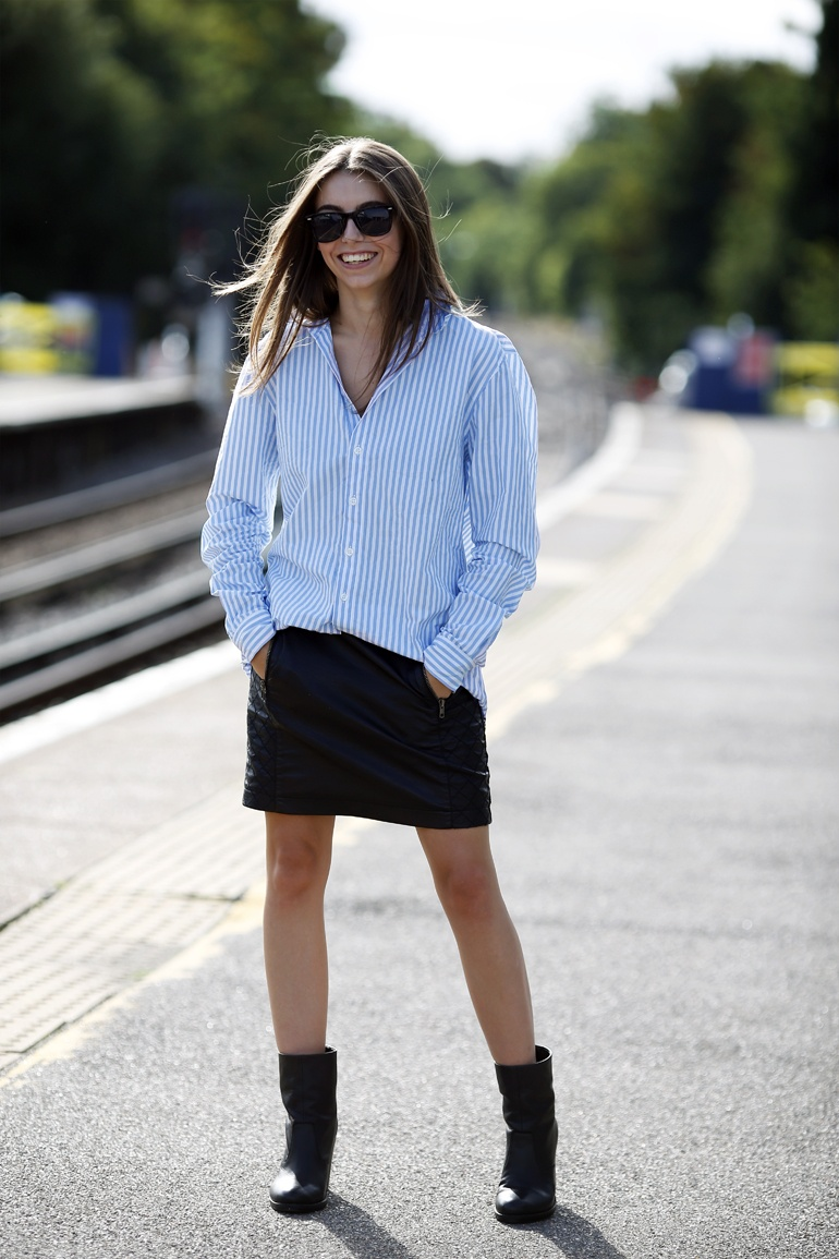 OOTD Stripe Shirt Leather Skirt