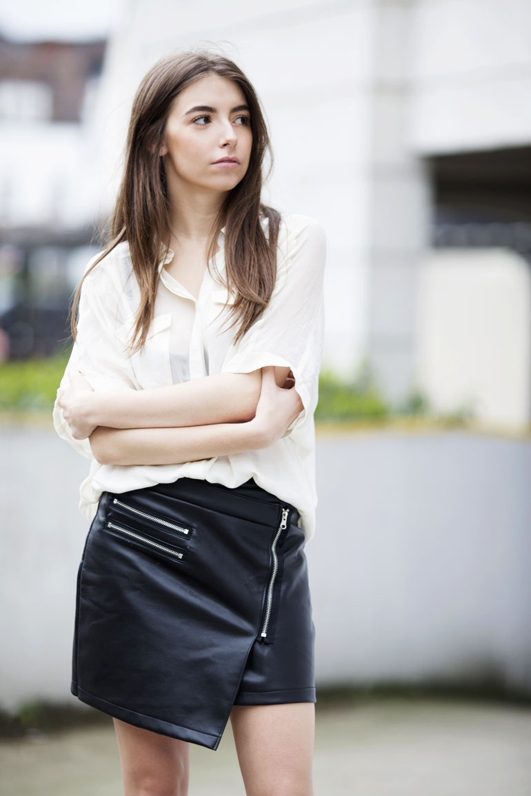 Silk shirt leather skirt outfit