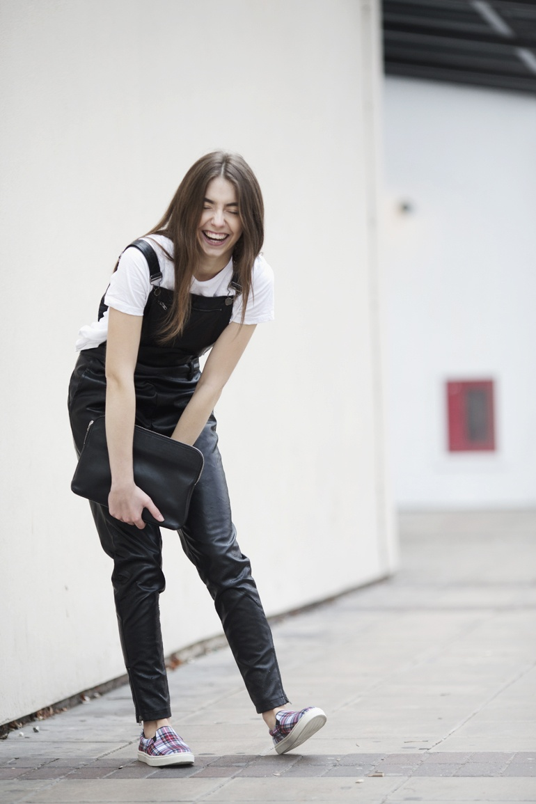 Leather dungarees outfit