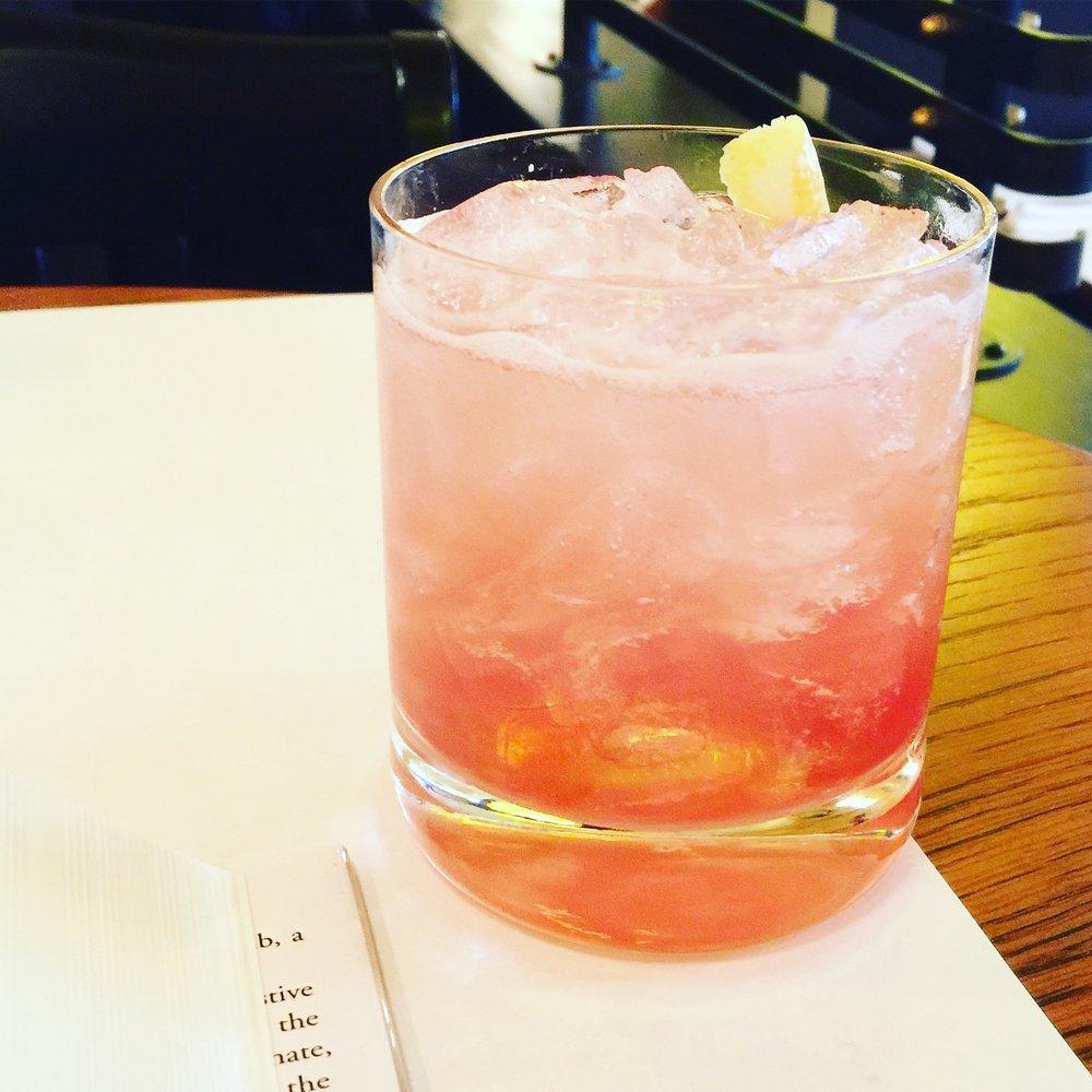 Gin-Chambord-ginger-syrup cocktail, Brasserie Bernard