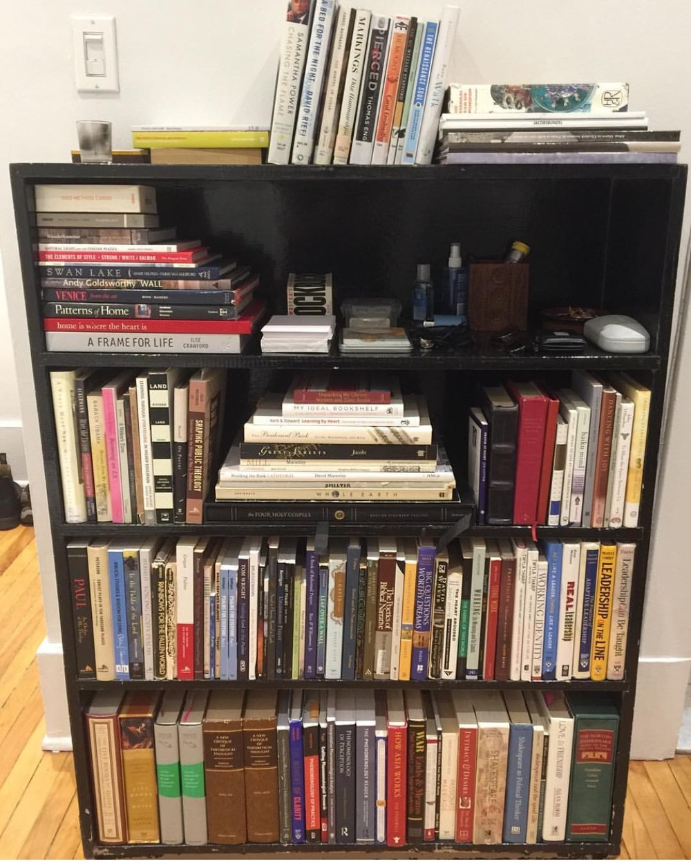My working bookshelf circa September 2016