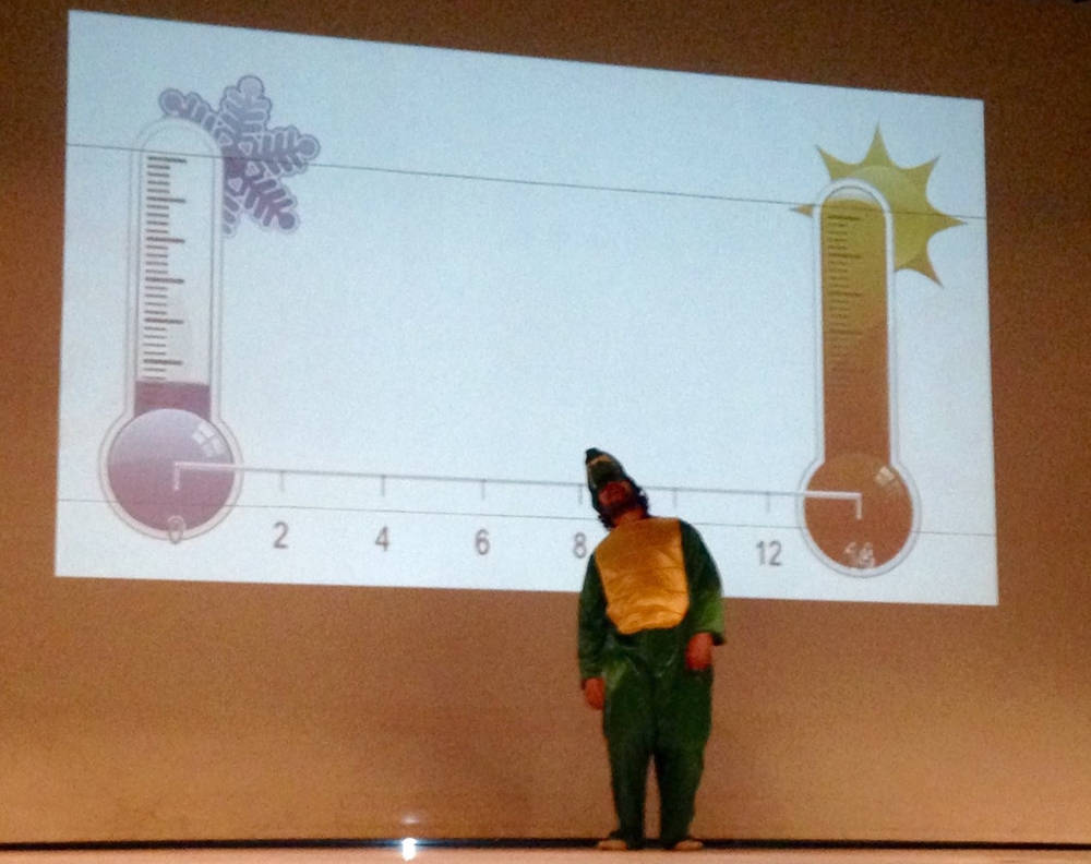 Rory demonstrating behavioral thermoregulation for Clubes de Ciencia, MX, at Modelo University, Merida, MX
