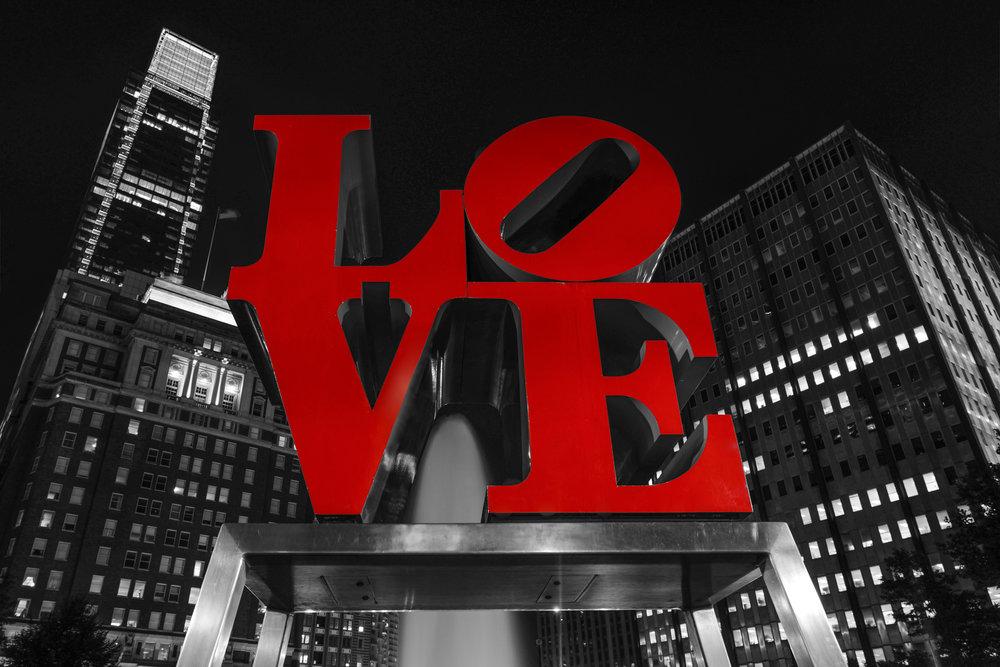Love Park at night in Philadelphia